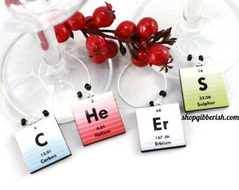 C He Er S - Science Wine Charms - Periodic Table of Elements - Hostess Gift