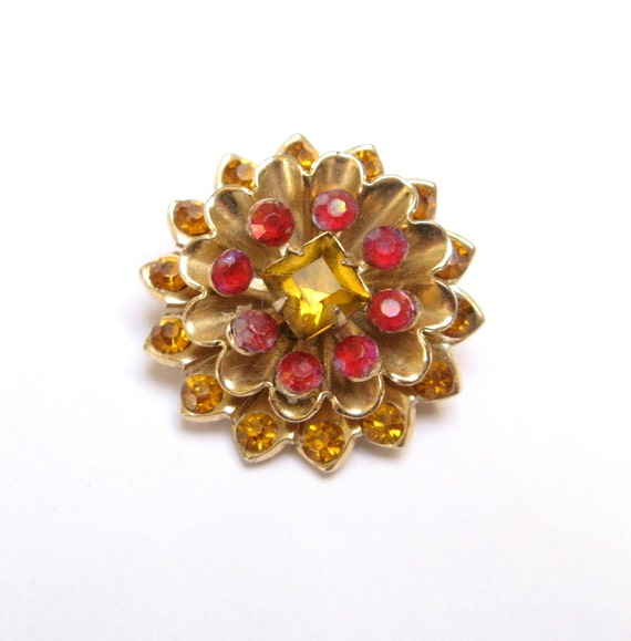 Vintage RHINESTONE Pin STARBURST Brooch CORO Signed Flower Amber Chysanthemum Old Costume Jewelry 1940s