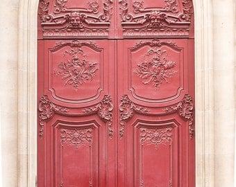 Paris Photography, Red door, Paris Decor, paris print, Door in Paris, France, red wall art, paris print, parisian decor