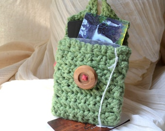 Mini Sage Envelope Bag, Pendulum Pouch -Handmade, Hand Crocheted -Travel, Tarot, Coin/Cards Purse, iPod, Free US Shipping, Metaphysical Gift