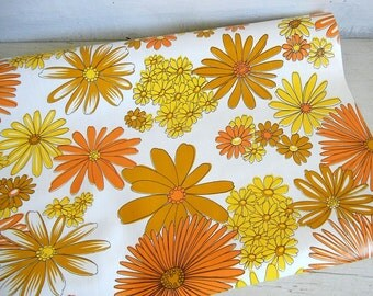 70s Flowers Daisy Wallpaper Roll | Vintage Wallpaper | Yellow Orange Brown Daisies