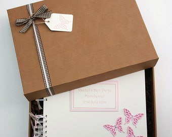 "Hen Party Guest Book - Bridal Shower book - Hen Night Photo Album - Gift for Bride - Bridal memory book -  10""x8"" handmade scrapbook"