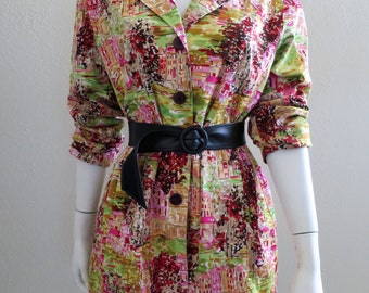1980s Pink & green print Blazer/Car Coat - Large - 40 in. Bust