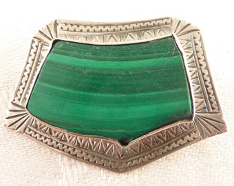 SALE --- Antique Handmade Engraved  Sterling Framed  Malachite Stone Brooch