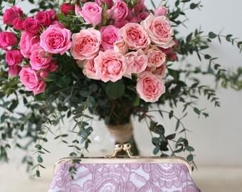 Lilac Alencon Paisley Lace Clutch | Bridesmaid Clutch | Lilac Wedding