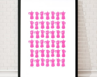 Moka Express Coffee Pots Limited Edition Screen Print (Neon Pink)