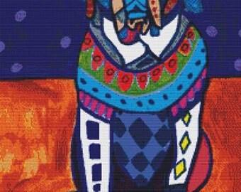 Modern Cross Stitch Kit 'Saint Bernard' By Heather Galler - Dog CrossStitch