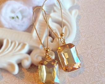 Art Deco Bridesmaids Gifts - Champagne - Fall Wedding - Earrings -  DORSET Champagne