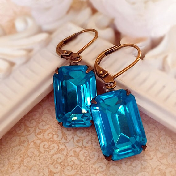 Art Deco Earrings - Aqua - Bridesmaid Gifts - Vintage Style - WINDSOR Aqua