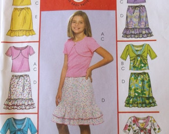 Girls Summer Top and Skirt,Mccalls M5038 Girls Shrugs,Tank Top and Skirts Pattern Size 7,8,10,