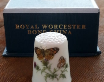 Butterfly Thimble Fine Bone China Royal Worcester Thimble  Made in England in Original Box