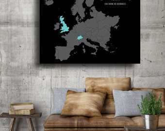 Gifts for him Gifts for her personalized custom anniversary gift from husband Map of Europe Map Art Large Wall Art Map Art husband gift