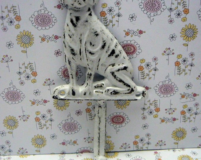 Dog Hook Cast Iron Shabby Chic White Leash Hook Home Decor