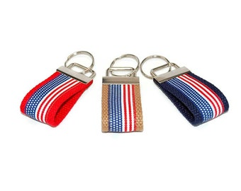 Flag Mini Keychain Patriotic Ribbon Finger Key Fob Bag Tag Graduation Gift - You Pick Color