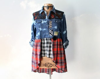 Rustic Denim Shirt Country Plaid Top Rodeo Girl Western Clothing Long Sleeve Women Jean Shirt Patchwork Clothes Upcycle Clothes XS S 'BECCA'
