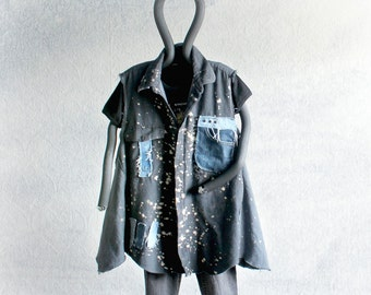 Gray Grunge Shirt Tattered Ripped Plus Size A-Line Top Upcycled Clothing Frayed Jeans Casual Weekend Women's Vest Art Clothes 1X 2X 'BELLA'