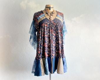 Hippie Chic Shirt Women's Smock Top Chic Boho Tunic Stevie Nicks Clothes Retro Vintage Style Scarf Kerchief Top Patchwork Clothing L 'SAMMI
