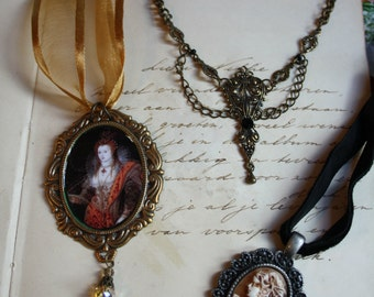 3 Necklaces Handmade Clearance Sale Wholesale Gothic Ornate Filigree Necklace Cameo Elizabeht I Queen Baroque Whimsical Antiqued
