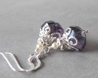 Bridesmaid Earrings Purple Crystal Earrings Crystal Dangles Beaded Jewelry Wedding Jewelry Bridesmaid Jewelry Bridesmaid Gift Handmade