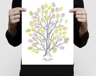 custom fingerprint tree guest book printed for wedding or baby shower, vintage ink illustration sketched drawn family tree thumbprint poster