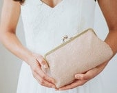 Blush Sequin Clutch | Pink Bridesmaid Clutch Purse | Pink Clutch | Monogram Clutch [Isla Clutch]