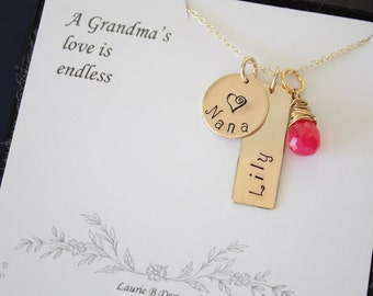 Gold Grandma Necklace Personalized, Grandma Necklace, Yellow Gold Necklace, Name Charm, Mother Necklace, Rose Gold, Birthstone, Pink, Card