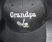 Grandpa-Embroidered Hat- Golfer, Golf Club, Golf Ball
