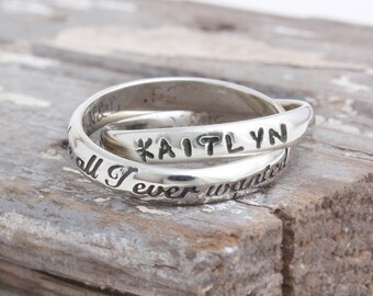 You're All I Ever Wanted Ring with Name Personalized in Sterling Silver. Couple Gift. Anniversary Gift, Wedding Gift. Bride Gift. Mom Gift