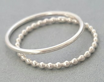 Silver Thumb Rings sterling silver rings stacking rings Beaded Wire Ring smooth ring gifts for her