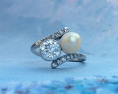 Vintage Diamond and Pearl Bypass Engagement or Right Hand Ring