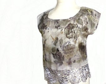 Silk top, Natural Dyeing on Silk, Eco leaf flower, Contact dyeing, Natural Plant Dyed, Eco Friendly Summer Silk
