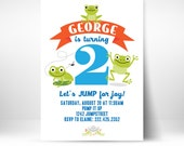PRINTABLE Frog Froggy Theme 1st 2nd Birthday Unisex Party Invitation Boy Girl Bounce House Evite