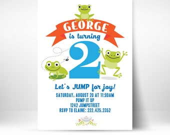 PRINTABLE Frog Froggy Theme 1st 2nd Birthday Unisex Party Invitation Boy Girl Bounce House Evite