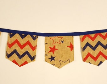 4th of July Burlap Bunting- Star Banner- Patriotic Garland- Summer BBQ decoration- Indoor Outdoor Party Decor American Flag #305