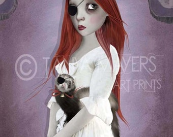 A3 Art print - Large Print - Big Eyed Girl & Ferret - Two Of A Kind