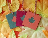 Fall Leaves Scalloped Square Tags -- Set of 6 Tags -- Autumn Place Card-Leaf Gift Tag-Wedding-Fall-Shower-Red,Green,Orange- Ready to Ship