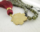 Long Marsala Tassel Necklace. Etched Brass Peacock. Labradorite Stones. Long Stone Bead Necklace. Mala Style. Ruby Red Tassel. Gray Stones.