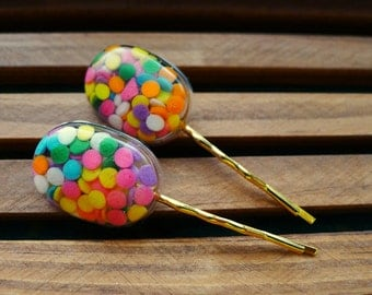 candy sprinkles colorful hair pins, hair accessories - oval shape