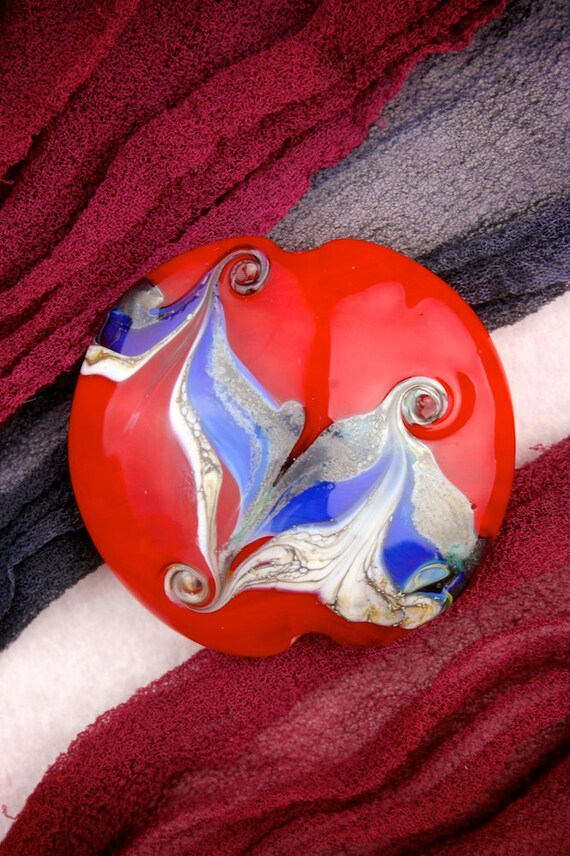 "SRA Lampwork Beads ""A Flash of Blue"" Handmade Bead Silver Glass Lustre Focal Lentil"