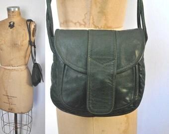 Green Leather Purse / 1970s boho bag