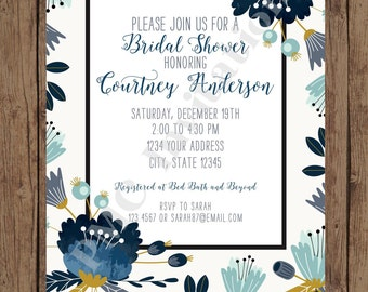 Custom Printed Navy Floral Bridal Shower Invitations - Bridal Party Invitation - 1.00 each with envelope
