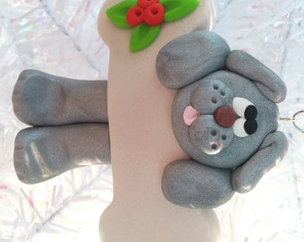 Dog Christmas Ornament - Grey Dog Ornament - Puppy Christmas Ornament -  Dog Lovers Gift - Pet Ornament - Dog Owners Gift - 4175