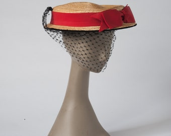 1960s Vintage Straw Hat, Veil, Red Bow & Velvet Brim, Bonwit Teller NYC