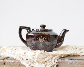 small Japanese teapot, vintage hand-painted brown floral teapot, made in Japan personal teapot