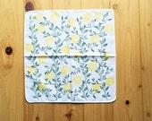 yuzu lemon tree handkerchief. japanese tenugui hand towel. ladies' hankie. pure cotton baby wipe. hand stamped body cloth. birthday gifts