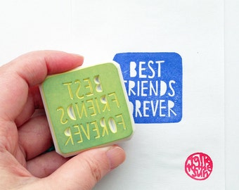 best friends forever stamp. square hand carved rubber stamp. hand lettered stamp. craft stamp. birthday christmas scrapbooking. diy stickers