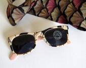 Vintage Sunglasses Mod Pink Black Peach- Super Dark Lens, Faded