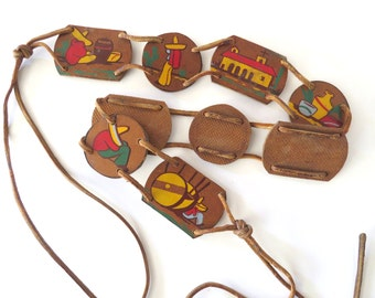 Mexican Folk Art Belt with Wood Links, Leather Ties, Sombreros and Cactus