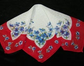 Vintage 1940's Red and Blue Floral Wedding Handkerchief or Doily, 9742