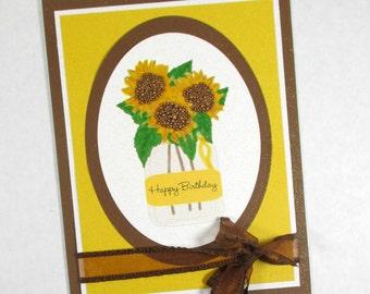 Sunflowers, birthday cards, happy birthday, feminine birthday, mason jar, birthday for mom, wife, sister, friend